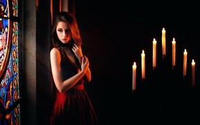 Wallpaper stained glass, Kseniya Kokoreva, sadness, candles, neckline