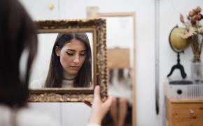 Wallpaper girl, reflection, mirror, Bianca, Jesse Duke