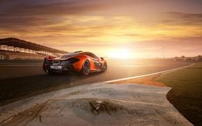 Picture sunset, supercar, track, McLaren, mclaren p1, bahrain