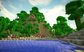 Picture water, trees, mountains, minecraft, vines