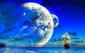 Picture ship, Sea, art