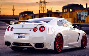Picture white, the sky, sunset, train, red, Nissan, GT-R, drives, ass