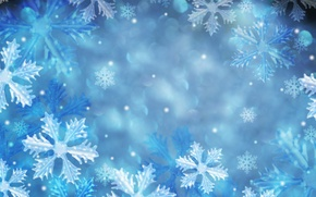 Picture snowflakes, blue, patterns