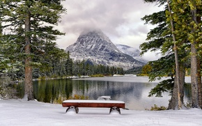 Picture lake, Park, snow, mountains, winter, trees, bench
