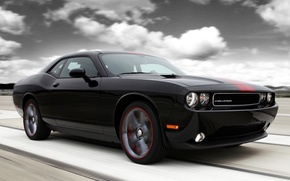 Picture the sky, clouds, black, tuning, muscle car, Dodge, dodge, challenger, tuning, the front, Muscle car, ...