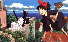 Picture sea, cat, flight, house, roof, kittens, black cat, MOP, Kiki's delivery service, jiji, kiki`s delivery …