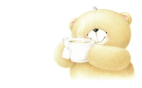 Picture smile, mood, welcome, tea, art, bear, children's, Forever Friends Deckchair bear