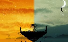 Picture light, joy, the moon, island