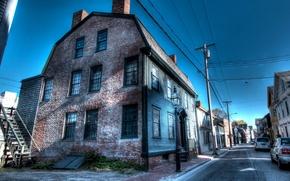 Wallpaper posts, wire, treatment, home, street, Newport, Newport, USA