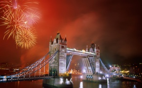 Wallpaper bridge, the city, river, London, Fireworks