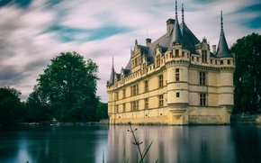 Picture the sky, clouds, trees, pond, castle, France