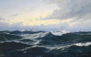 Picture sea, wave, the wind, ship, horizon, the seascape