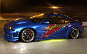 Picture night, tuning, speed, underground, street racing, styling, styling, mitsubishi eclipse