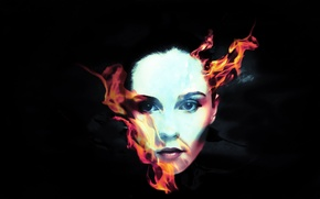 Picture fire, flame, girl, fantasy, style, falmes, mystery