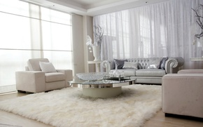 Picture room, sofa, interior, carpet, white, chair, design