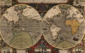 Picture sea, the ocean, earth, figure, ship, island, map, mainland