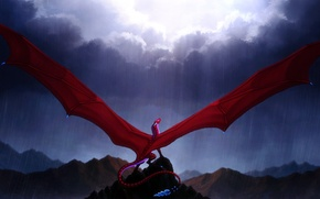 Picture the sky, fiction, rain, wings, art, tail, red dragon