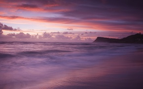 Picture sea, wave, beach, clouds, sunset, clouds, shore, mountain, the evening, purple, pink, shades