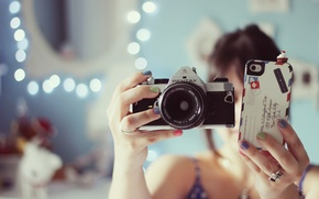 Picture girl, background, Wallpaper, mood, blur, brunette, ring, the camera, phone, iPhone