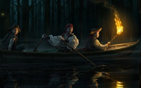 Picture water, night, art, river, Ron Crabbe, boat torch, Ron Crabb