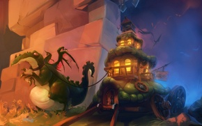 Wallpaper dragon, train, fantasy, art, house, fantasy, cart, art, Wagon dragon, pack, Oritey