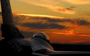 Wallpaper sunset, wing, fighter, beautiful, cabin