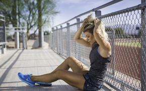 Wallpaper outdoor exercise, heat, rest, fitness, model, exhaustion, Kacey Luvi