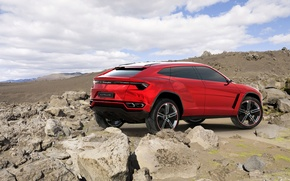 Picture jeep, red, Concept, the sky, Lamborghini, rear view, Lamborghini, the concept, Urus, Urus, stones