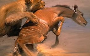 Picture Figure, Art, Animals, Mining, Painting, Painter, Leo, Fight, Paint