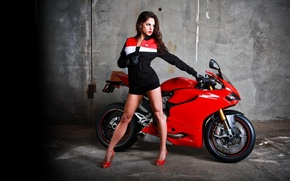 Picture girl, brunette, ducati, next, motorcycle
