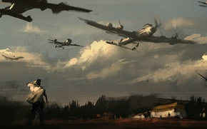 Picture the sky, clouds, the plane, war, people, art, flying army