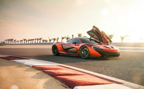 Picture McLaren, Orange, Car, Race, Front, Supercar, Track, Spoiler, Doors