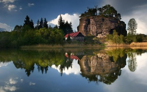 Wallpaper lake, house, Reflection, trees, the sky, clouds