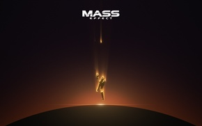 Picture space, Mass Effect, falling, destroyed normandy, commander shepard