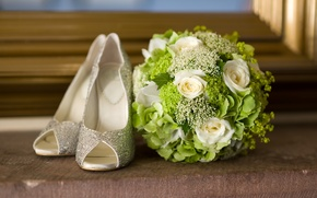 Picture shoes, flowers, bouquet, flowers, shoes, bouquet, fashionable, fashionable