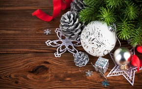 Picture New Year, Merry, decoration, Christmas, Christmas, wood, balls, decoration