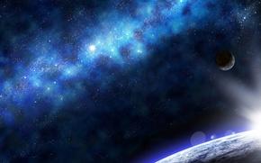 Picture lights, Star, blue, planet, cute, Sci Fi