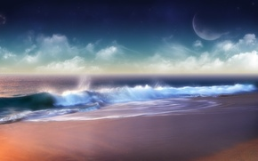 Wallpaper clouds, wave, Shore