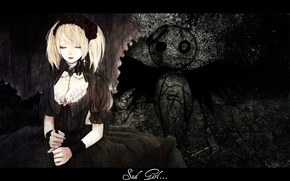 Picture wall, skull, angel, chain, symbol, closed eyes, sad girl, black wings, Gothic