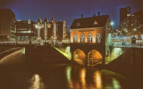 Picture lights, Germany, night, architecture, Hamburg, outdoor, long exposure, Fleet castle, Brooktorkai