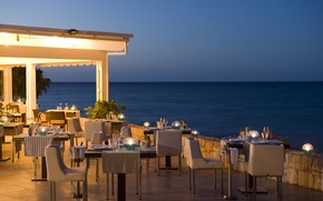 Picture the city, the evening, restaurant, terrace, restaurant