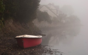 Picture fog, river, shore, boat, home, morning
