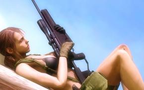 Picture rifle, Metal Gear Solid, The Phantom Pain, konami, Hideo kojima, Stefanie Joosten, Quiet, girl, chest, ...