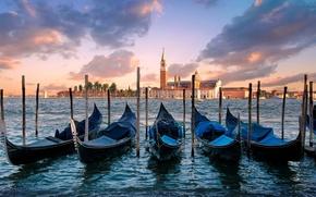 Picture sea, the sky, water, clouds, the city, island, morning, Italy, Venice, Italy, gondola, Venice, Venice, ...