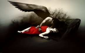 Picture girl, black and white, angel, red dress