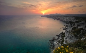 Picture sea, the sky, water, the sun, sunset, nature, the ocean, rocks, shore, the evening, horizon
