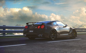Picture Nissan, GT-R, Car, Sky, Mountains, Road, Wheels, Spoiler, Litgh