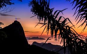 Wallpaper sea, the sky, Palma, statue, Rio de Janeiro, Rio de Janeiro