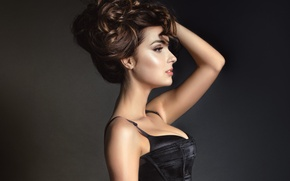 Picture girl, face, background, makeup, hairstyle, profile
