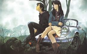 Picture machine, grass, girl, clouds, nature, tree, guy, neon genesis evangelion, long hair, sitting, nge, katsuragi …